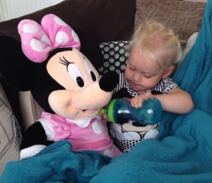 Poorly Penny looking after Minnie